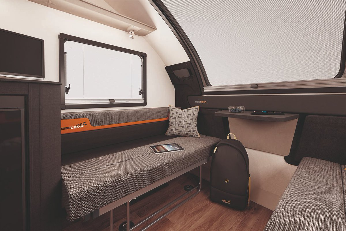 Picture of: Swift Basecamp V Twitter Basecamp 4 Special Edition Has Been Cleverly Designed To Remain Compact Additions To This Optimised Layout Include Bunk Beds Foldaway Dinette Table Larger Kitchen Surface Space And Additional