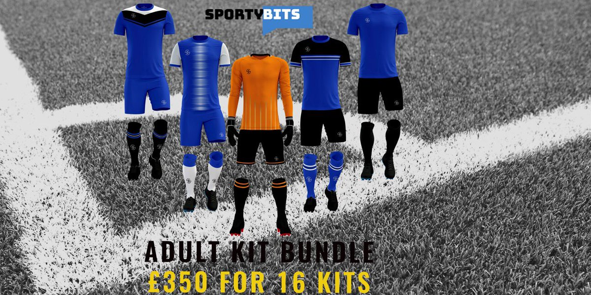 ADULT KIT BUNDLE  £350 for 16 kits. Add extras for just £21.50. Choose one of our kits or let us design you a fully bespoke kit. Price includes all personalisation.  Offer valid until the end of April.  #kitbundle #footballkits #customkits #teamwear #footballteams #footballclubspic.twitter.com/PvlzT5gh4A