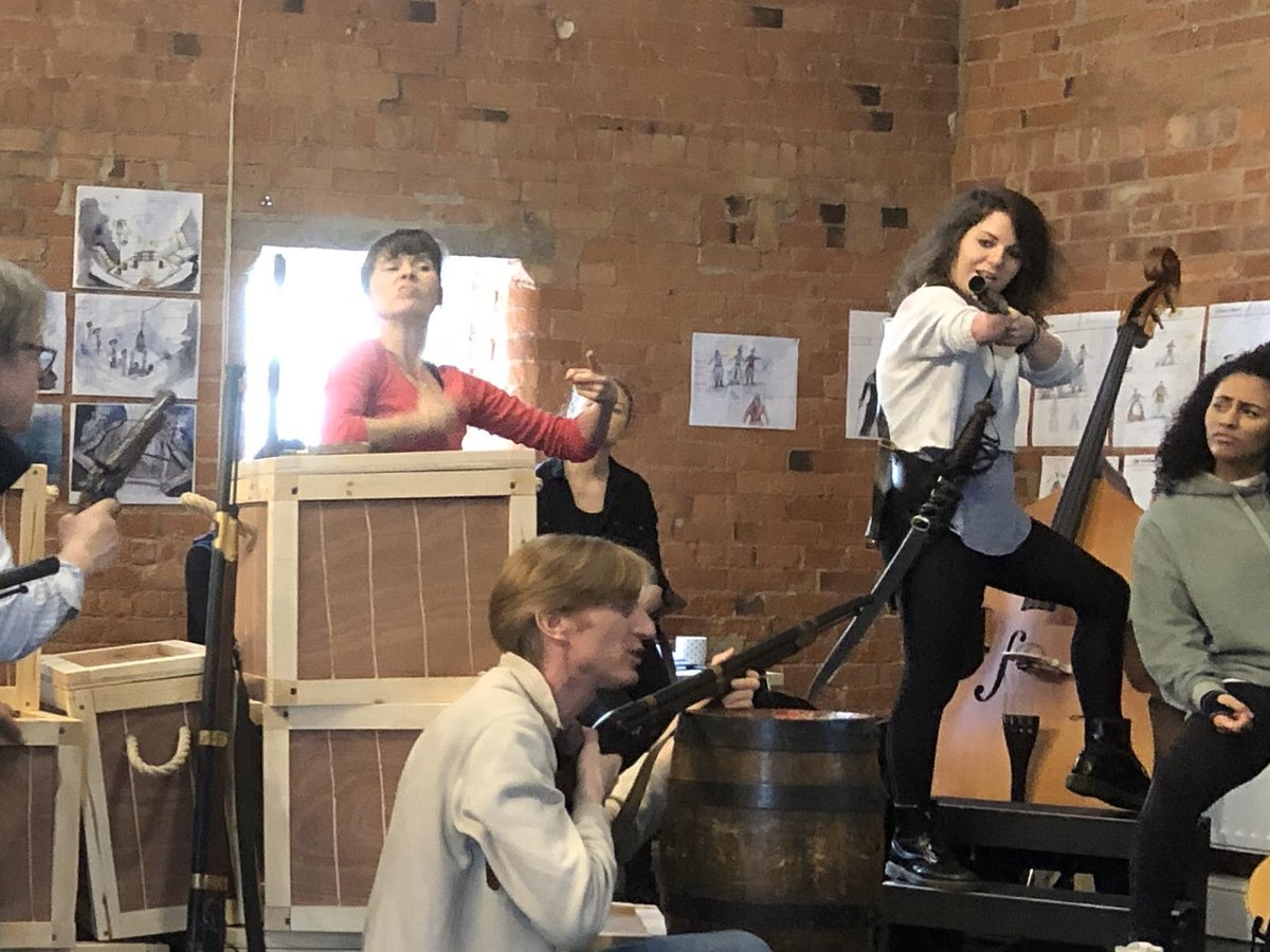 Guns ahoy! #treasureisland rehearsals are getting feisty @DerbyTheatre