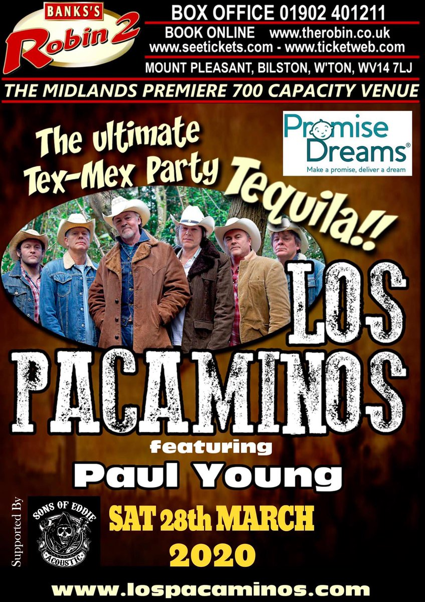 Calling Midlands Pacamigos! Our gig at @Robin2Music on 28/3 is selling quickly. Get your tickets while you can - it's going to be a great night! therobin2.com/new-events/los…