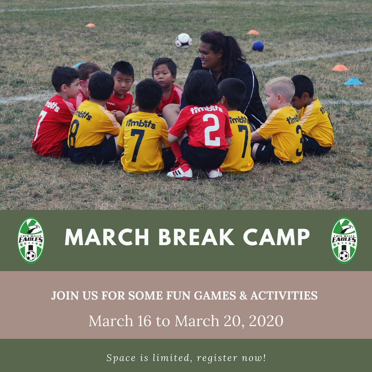 Hey there Eagles! There is only ONE WEEK left until our March Break Camp starts. Don't miss out on a week full of fun games and activities! Link in bio to register . . . #EMSC #Youthsoccer #MississaugaSoccer #Marchbreakcamp #Riseupeaglespic.twitter.com/SY9GRGJB4b