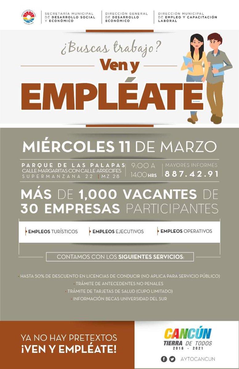 En breve en @SIPSENOTICIAS. Para hablar de la próxima Edición de #EMPLÉATE  Ya son mas de 1,500 opciones laborales. En el Parque de las Palapas con 33 empresas participantes  Miércoles 11 de Marzo @AytoCancun @SMDSE_BJ.  @DECONOMICOBJ #Cancún #Empleo #CancúnTierraDeTodos pic.twitter.com/q6la2HClLk