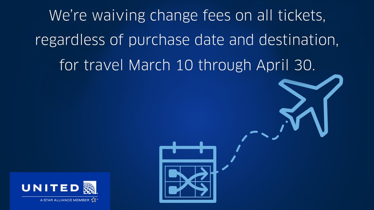 If you're scheduled to travel March 10 - April 30, 2020 and would like to change your plans, there is no fee to do so, regardless of when you purchased your ticket or where you're traveling. Learn more: uafly.co/2IpMCBX