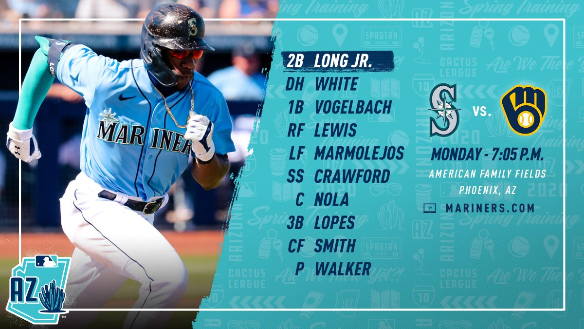 Taijuan Walker makes his Cactus League debut vs. the Brewers tonight at 7:05 p.m. #MarinersST<br>http://pic.twitter.com/ZPT9F4tBtu