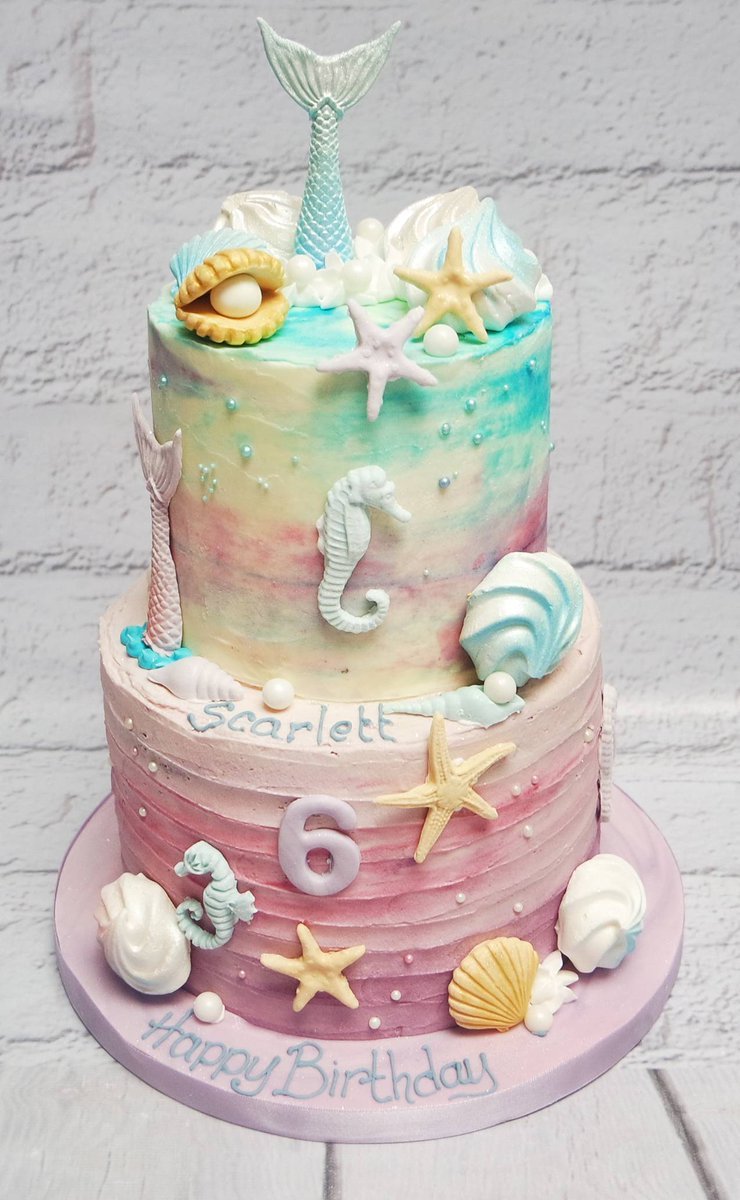 Crafty Cakes On Twitter A Beautiful Two Tier Sea Themed Buttercream Cake For Scarlett S 6th Birthday We Love The Colours And Decorations Bespokecakeexeter Birthdaycake Birthdaycakeexeter 6thbirthdaycake Underthesea Mermaid Shells