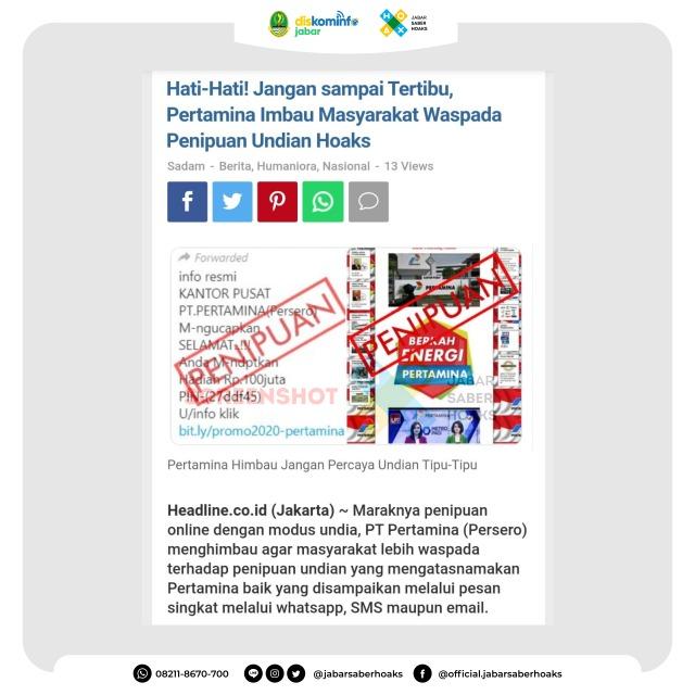 ট ইট র Jabar Saber Hoaks Undian Berhadiah Pertamina