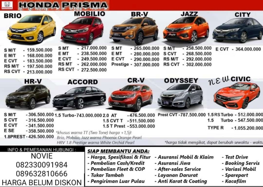 Harga Mobil Dealer Honda Prisma