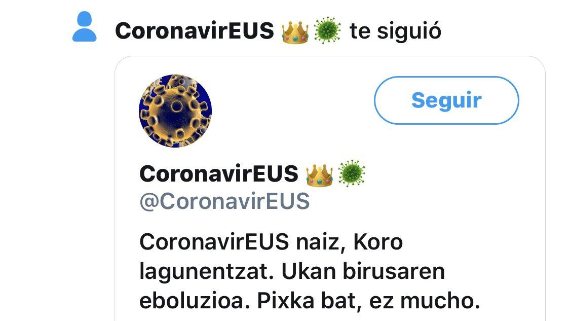 Isilpean eraman dut orain arte, baina iritsi da Zuek denok jakiteko ordua.    @CoronavirEUS ek jarraitu eta harrapatu nau!  Gomendiorik? https://t.co/tLd3IvbjV1