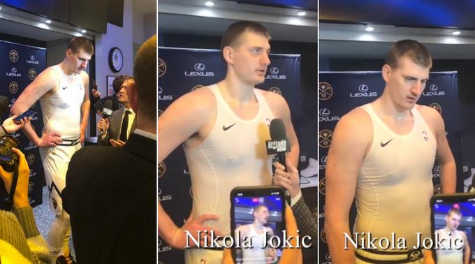 【影片】金塊戰勝公鹿,Jokic賽后在更衣室,罕見的向記者們展示自己減肥的成果!