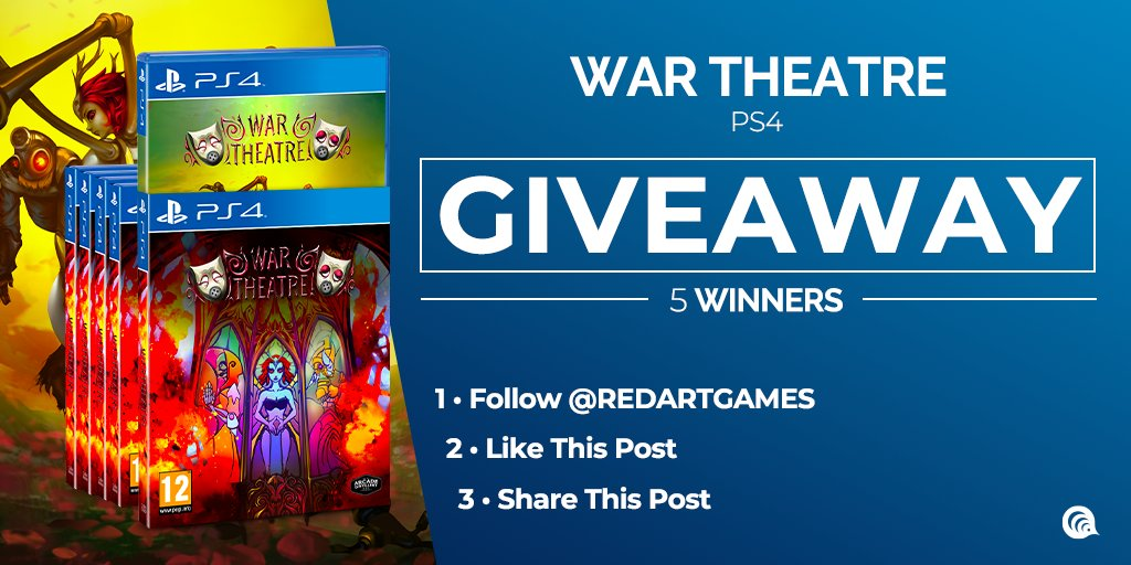 Let's make a #giveaway to celebrate the shipping of #WarTheatre from @LucBernard and from @ArcadeDistiller ! 😏  ➡ 5 WINNERS (each one will receive a copy of War Theatre) ➡ To enter: follow us on Twitter, like & RT this post ➡ Open internationally ➡ End on 03/12 - 10.30AM UTC