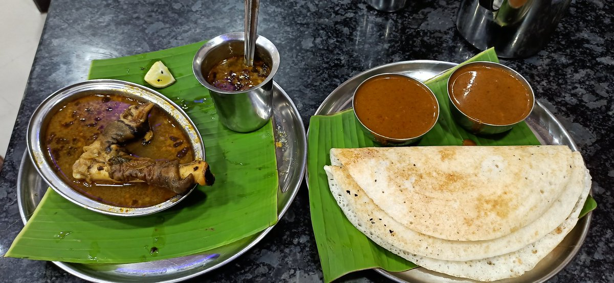Would breakfast do? Dose & Kaal Soup (trotter soup) a Karnataka Gowda fare & filter coffee! pic.twitter.com/z09EGYqRWC