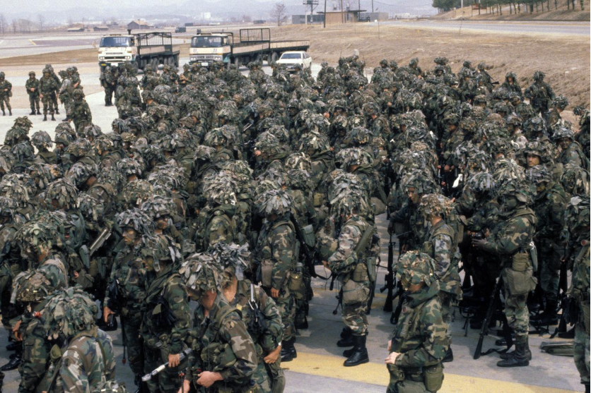 1980s - Team Spirit - Even though 7th Infantry Division left Korea in 1971.  It made it's return for many years for deployments like Team Spirit. 7ID was based at FT Ord, CA at this time.  #teamspirit #upontheZ #7id #1980s #korea #rok <br>http://pic.twitter.com/9JVuPoNRGE