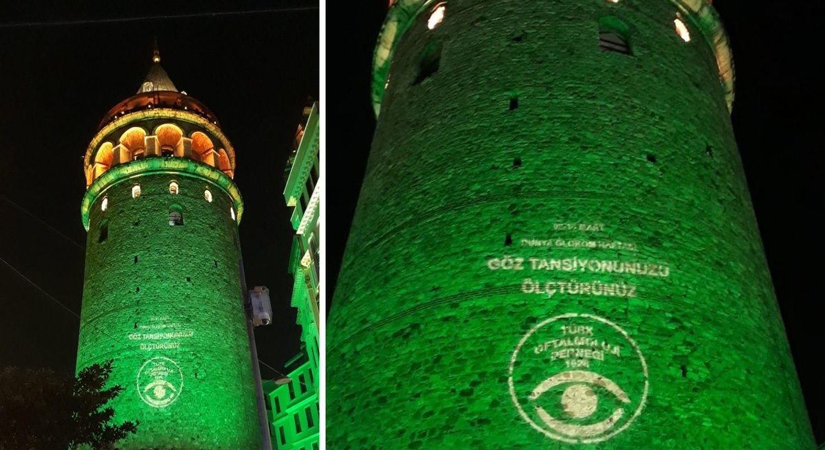 test Twitter Media - The iconic Galata Tower in Turkey lights up in green for #glaucomaweek, urging people to have their eye pressure checked. A big thanks to Dr Tekin Yasar and the Türk Oftalmoloji Derneği https://t.co/D2rlQhYTg5