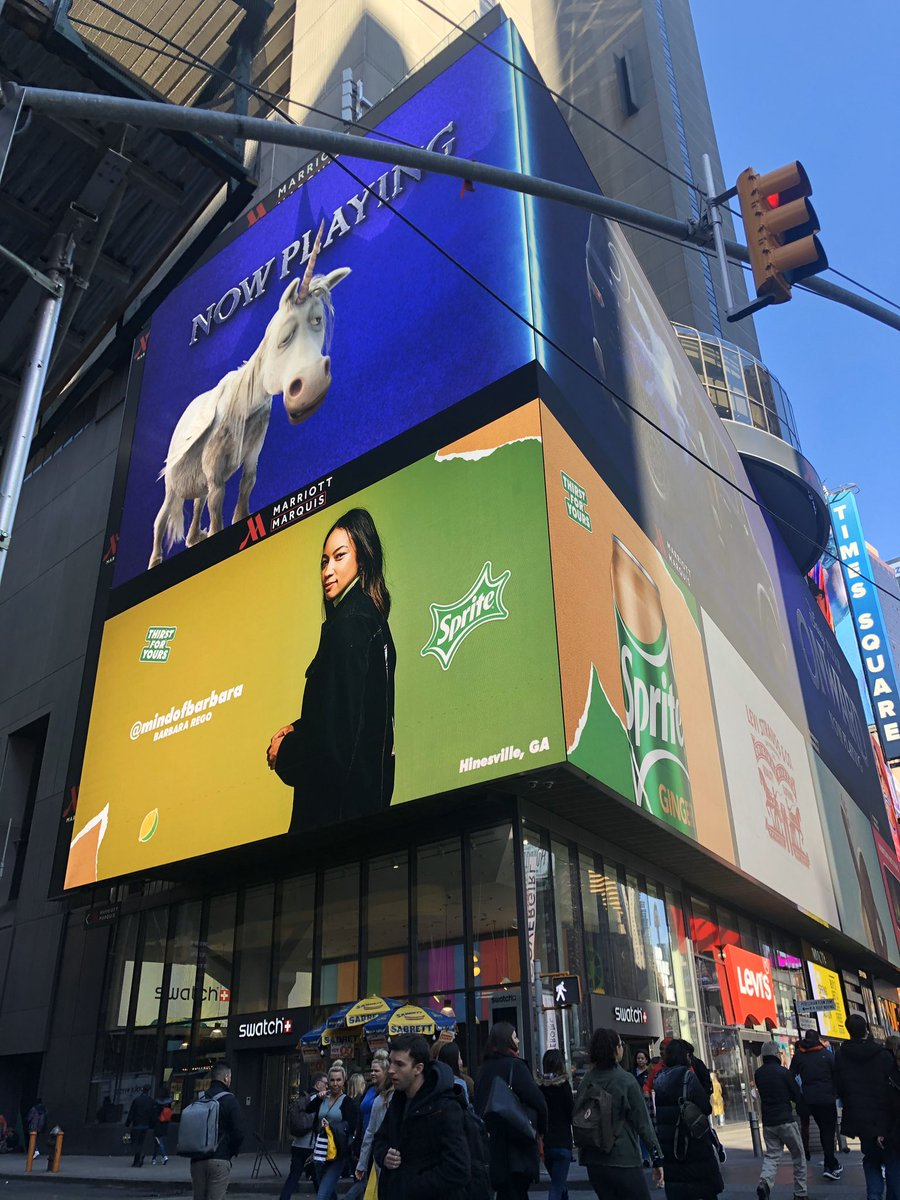 I am a 25 year old female artist from Hinesville, Georgia and I can't believe I'm on a billboard in Times Square for one of my favorite brands @Sprite. Wow. Thank you! #SpriteGinger #SpritePartner 💚🙏🏼