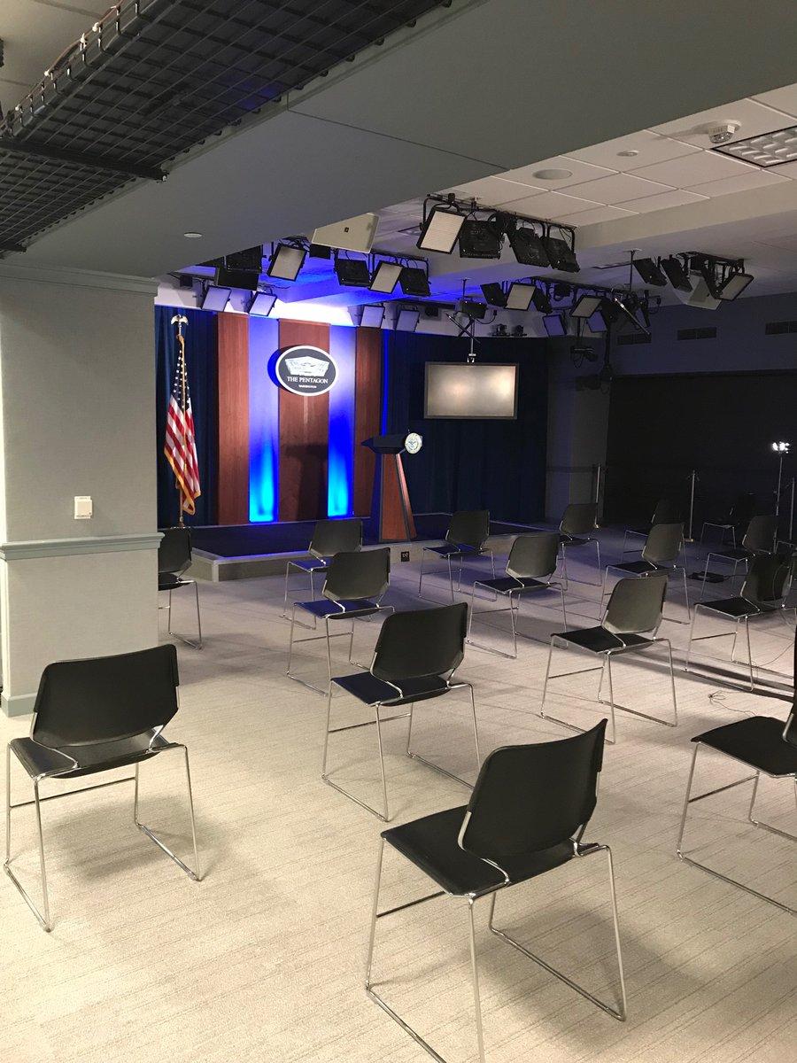 "New ""social distancing"" for press seating in Pentagon briefing room. #coronavirus"
