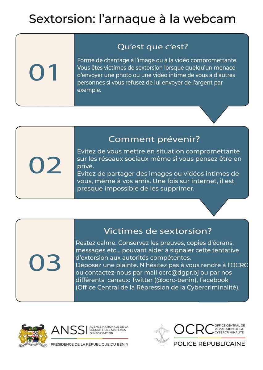 Les #sextorsions sont une forme d'arnaque en hausse au #Benin. Quelques recommandations de l'ANSSI et de l'@ocrc_benin sur le sujet #wasexo #team229 #beninnumerique https://t.co/k5BlJ6prWk