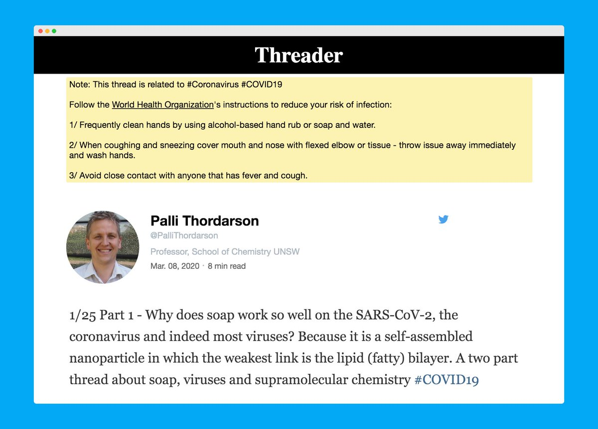 Hi Threaders 👋  As a precaution, this annotation will be displayed on top of threads related to the coronavirus.  Follow @WHO to stay informed.  #Coronavirus #COVID19