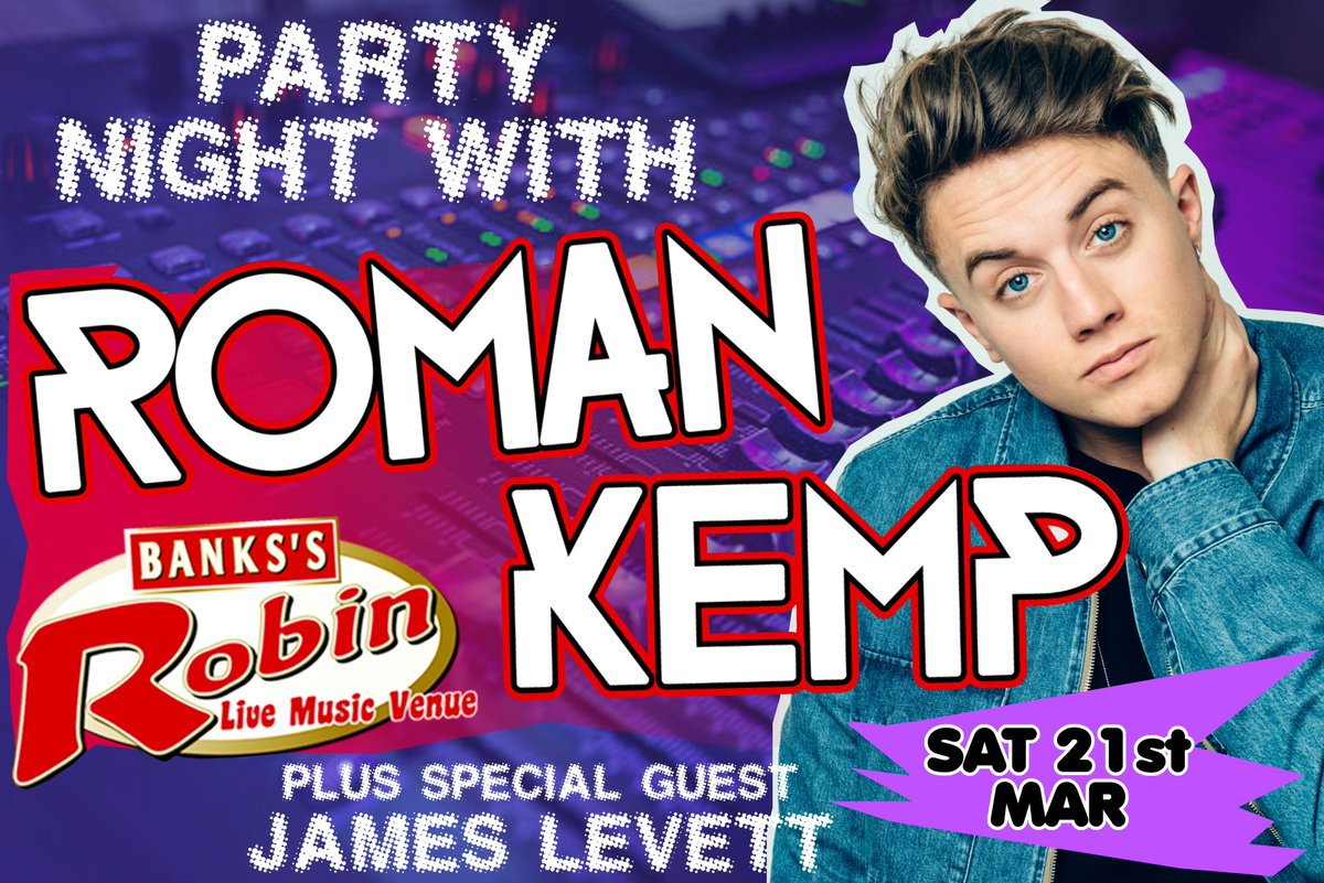 ROMAN KEMPS DJ SET IS NOT FAR FROM NOW! GET YOUR TICKETS BEFORE ITS TOO LATE! + Special guest @iamjameslevett / @romankemp @locotalent Link here: therobin2.com/new-events/rom…
