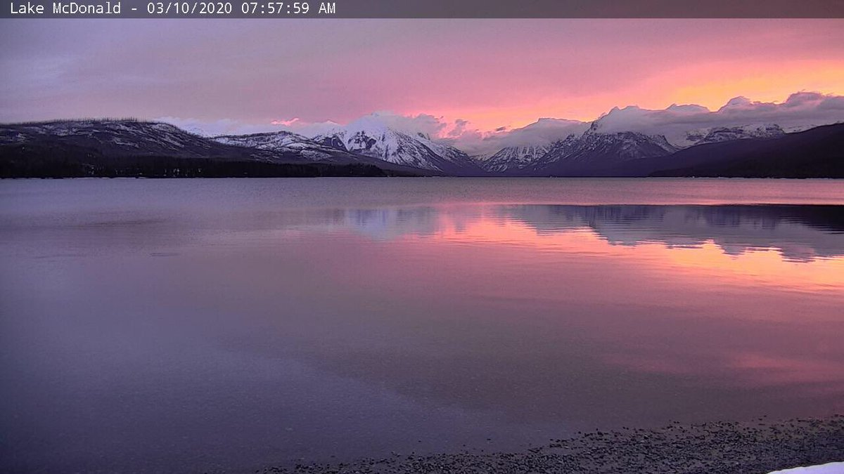 It was a beautiful pink start to the day in Glacier this morning. #awesomesunrise #montanamoment