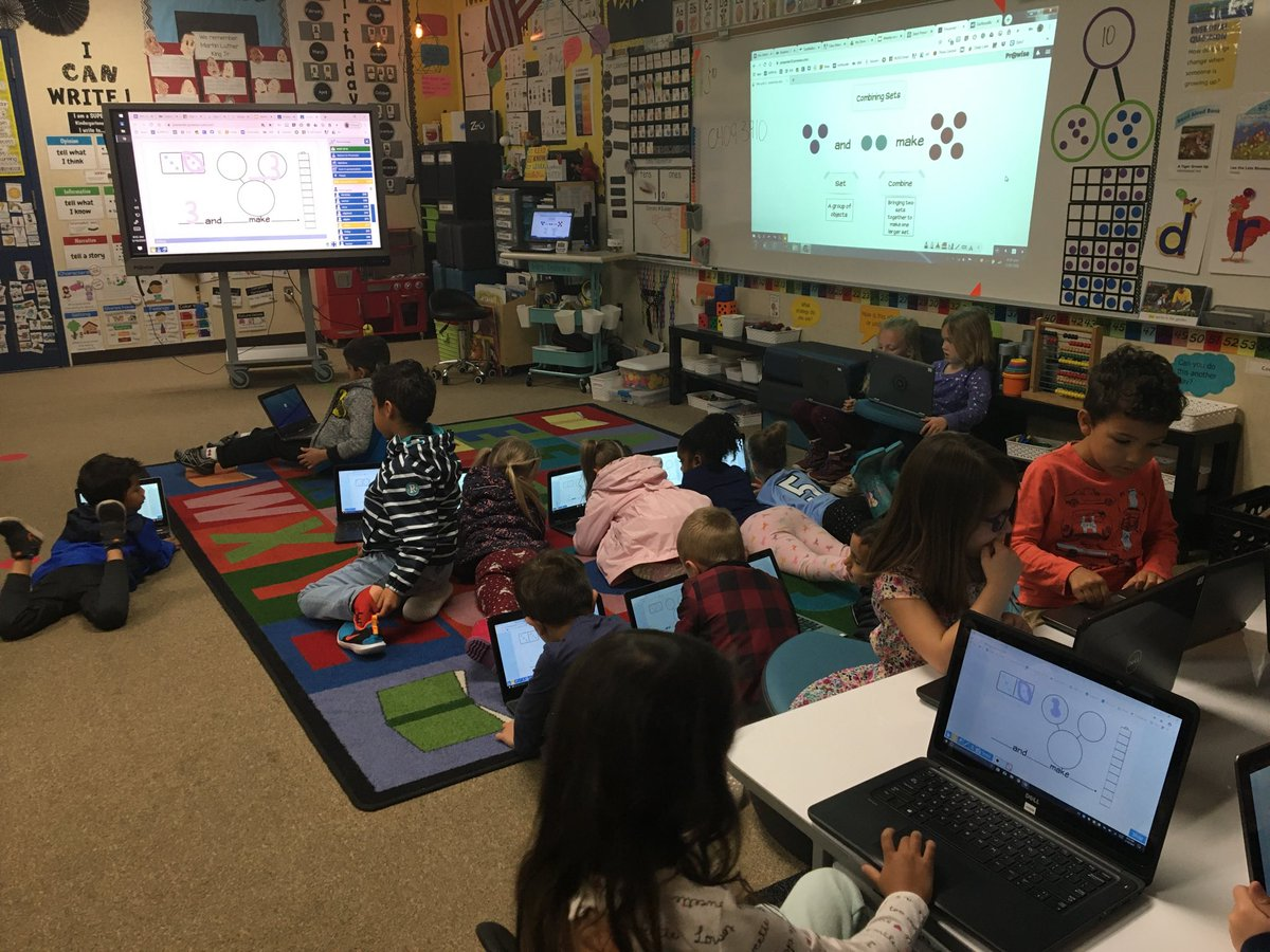 Using ProConnect in kindergarten to show understanding of combining sets.