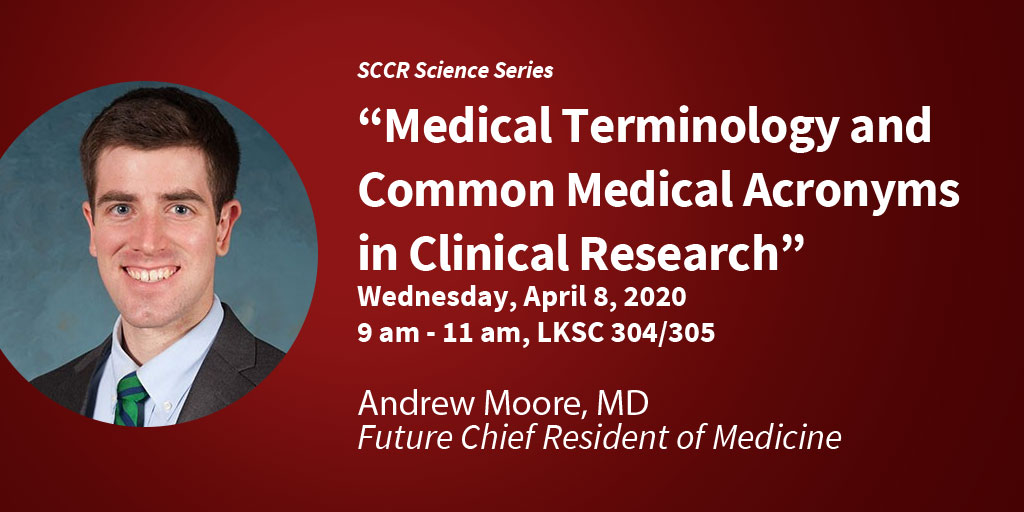 #SCCR has invited future Chief Resident of Medicine, Andrew Moore, to provide participants with a solid foundation in #medicalterminology & common medical acronyms. Join us on April 8!  http:// bit.ly/39gMtN1     All @StanfordDeptMed research staff welcome.<br>http://pic.twitter.com/VUSKpa0ZH5