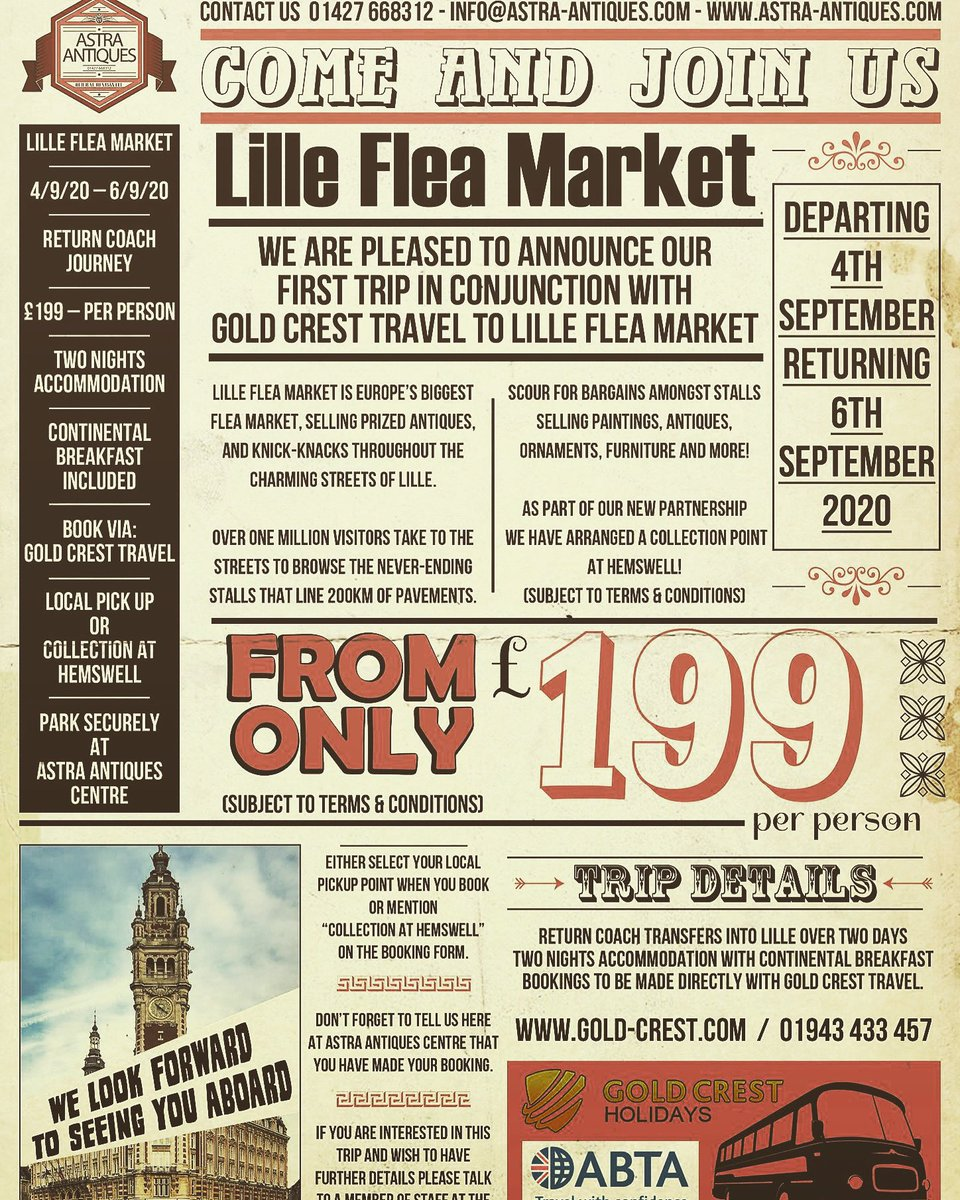 Have you ever dreamed of scouring the French flea markets for treasure? If so here's your chance to come on a fantastic trip. Please contact for more information. #fleamarketsoffrance #lille #france #treasurehunting #antiqueshunting #tripsabroad #fleamarket #vintagegoods #europe https://t.co/HBgmaOeb7c