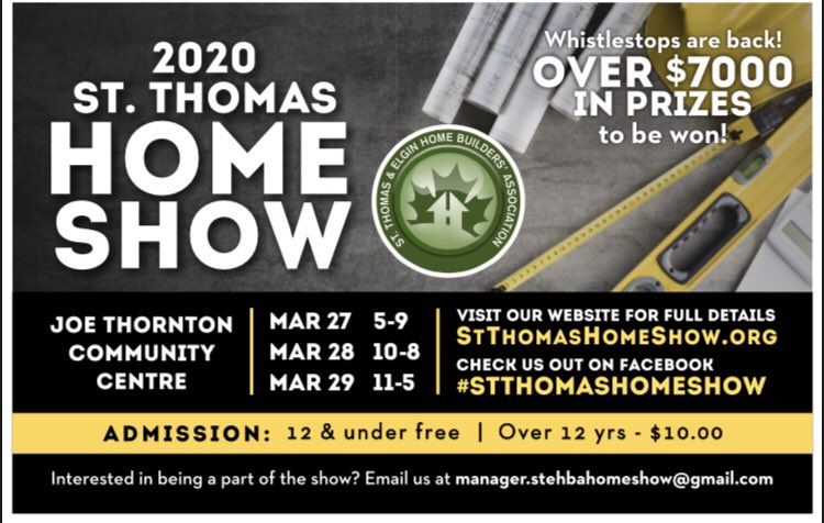 Save the date! #stthomashomeshow2020 is fast approaching!! Final details are wrapping up for this years show and we are excited to announce Whistlestops are back with over $7000 in prizes to be won. #stthomas #london #homebuildersassociation pic.twitter.com/RFV8LqdYjX