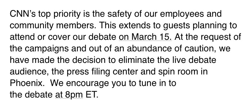 Statement on attendance/coverage of CNN's March 15th Democratic Presidential debate in Phoenix, AZ: