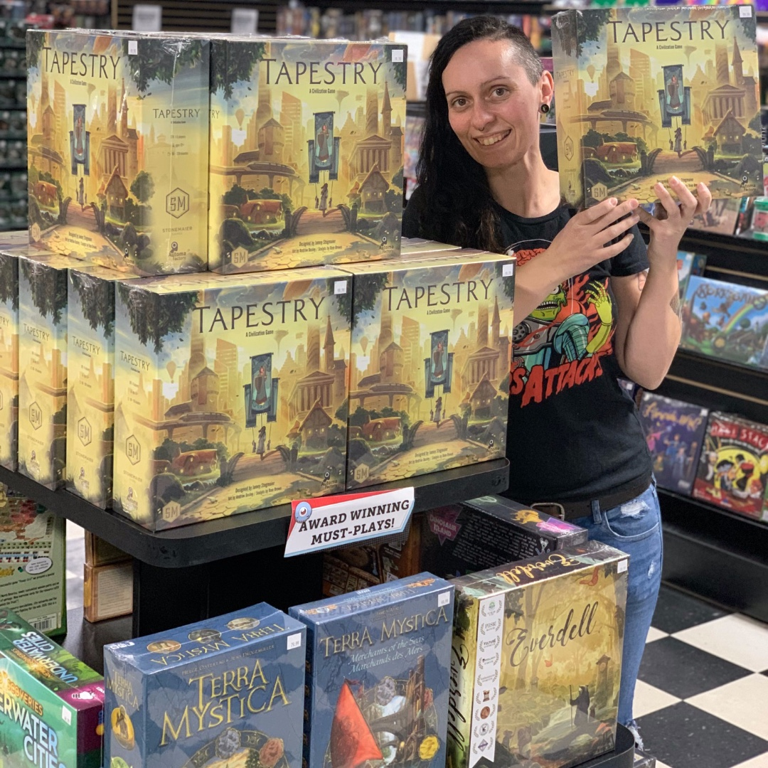 TAPESTRY!!! We just got our re-stock -- come and get in on this incredible game from the same folks who brought you SCYTHE & WINGSPAN! #tapestry #tabletop #tabletopgames #boardgames #tabletopgaming #tabletopgamer #wingspan #scythepic.twitter.com/cRGtIE3imE