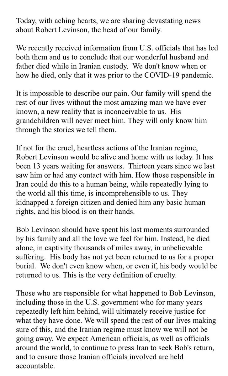 Statement from the Levinson Family