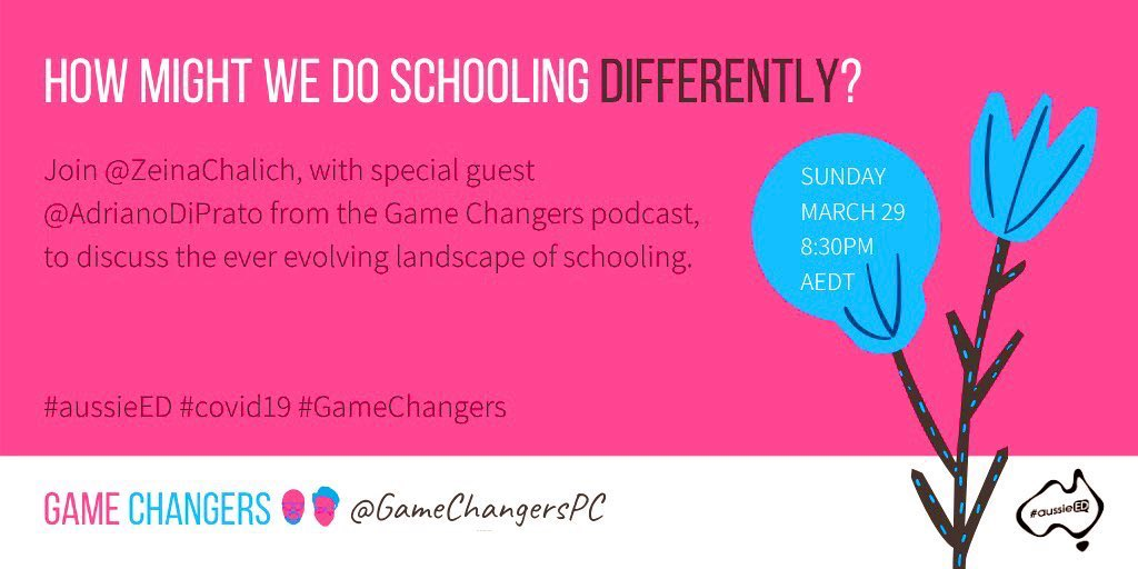 #coronavirus has disrupted the way we teach in a matter of weeks 🌍 New solutions for education could bring much needed innovation 💡 Will it widen the digital divide? 💭 Join @AdrianoDiPrato cofounder of @GameChangersPC + as we lead #aussieED HMW do school differently?