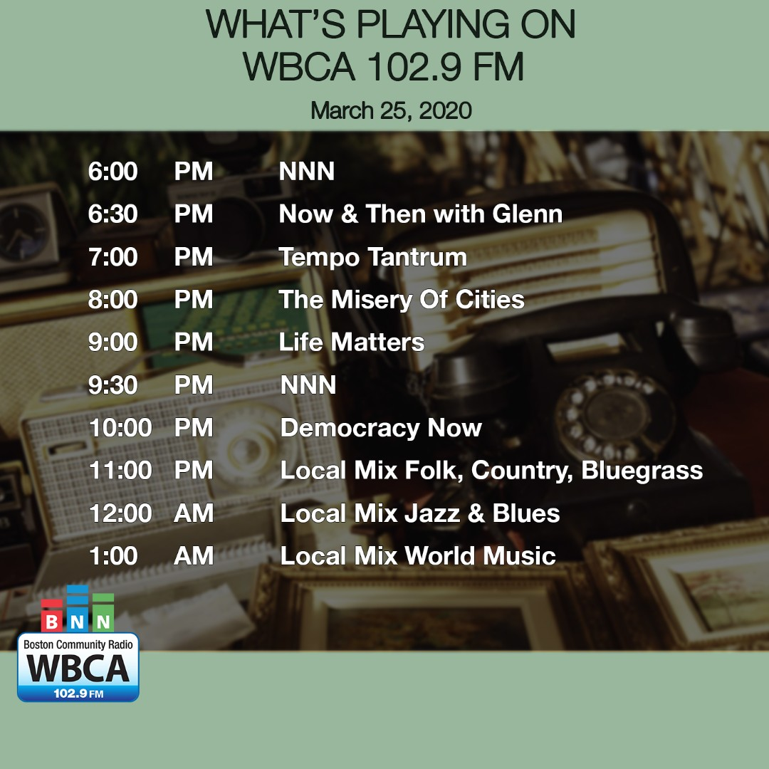 This is what's playing now on WBCA 102.9 FM, Boston's Community Radio Station.   #WBCA #whatsontheradio #Bostonradio #bostoncommunityradio #radio #onair