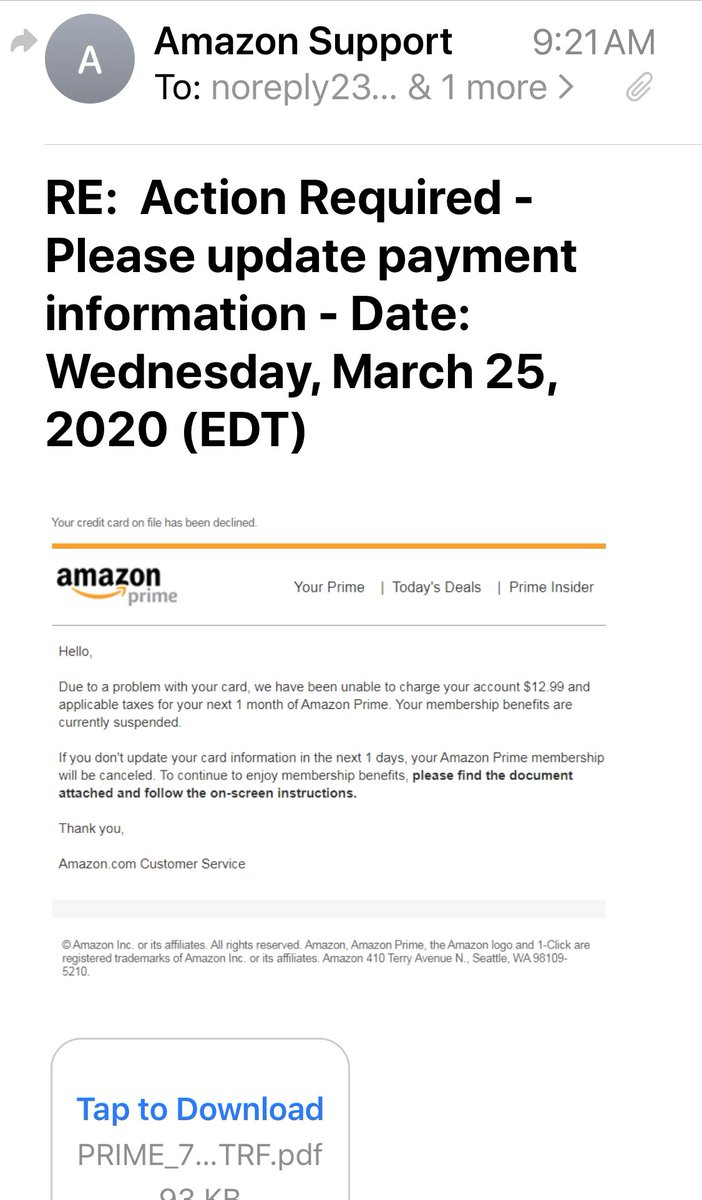 Adrienne Alpert On Twitter Did You Get This Email Purportedly From Amazon The Email Address Looks Like Phishing Report Suspected Fraud And Gouging To Cityattorneyla Https T Co Gunjrqetzo
