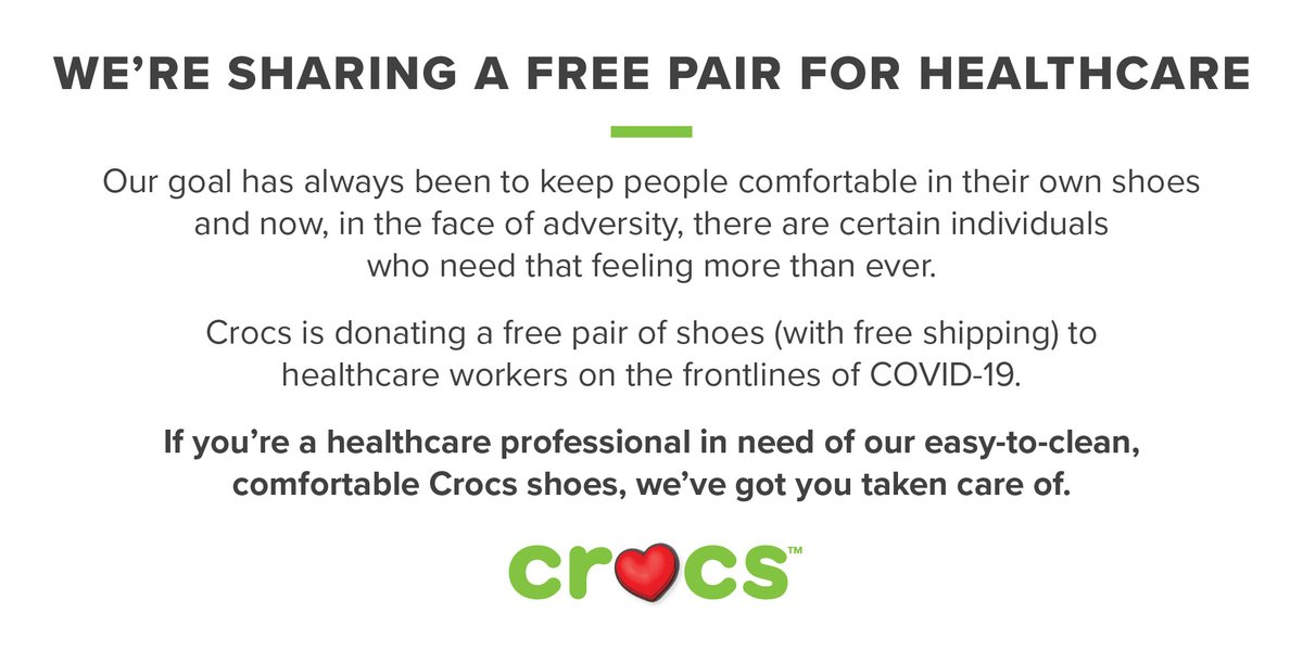Now and always, we need to take care of each other. Sending love to you, #CrocNation 💚 And sending free shoes to our frontline heroes in healthcare. Visit https://t.co/xNp6I2aRd8 to request your pair. #CrocsCares https://t.co/G4fyLe0kQq