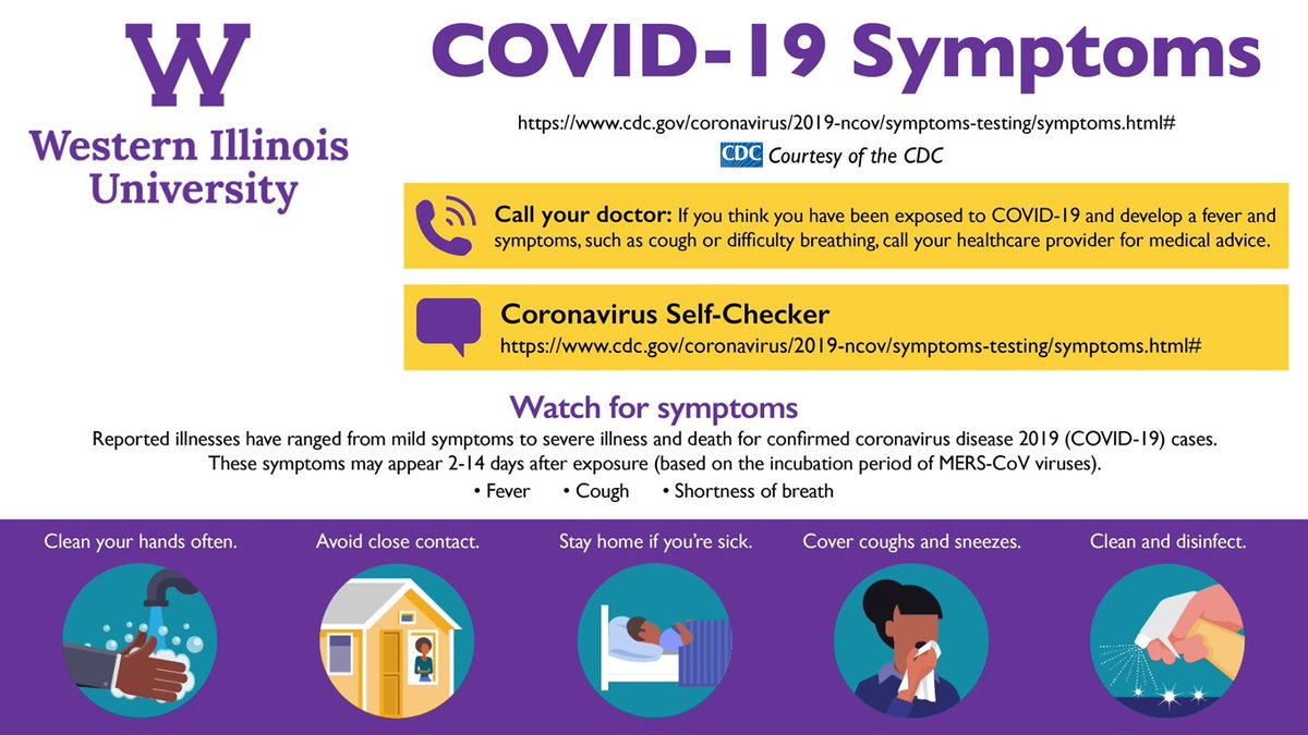 Info courtesy of the CDC (COVID symptom self-checker and complete information can be found at  https://www.cdc.gov/coronavirus/2019-ncov/symptoms-testing/symptoms.html# …).