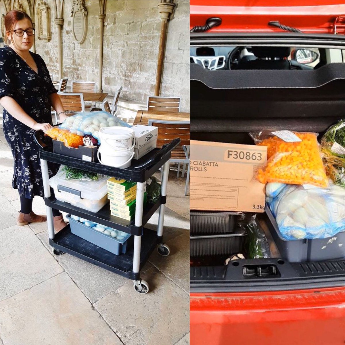 Massive thanks to Kim, Sarah and all @SalisburyCath who donated food to Clouds House while they were emptying their kitchen due to closure. So far we've made a delicious roast dinner and cheesecake for all the clients! ❤️