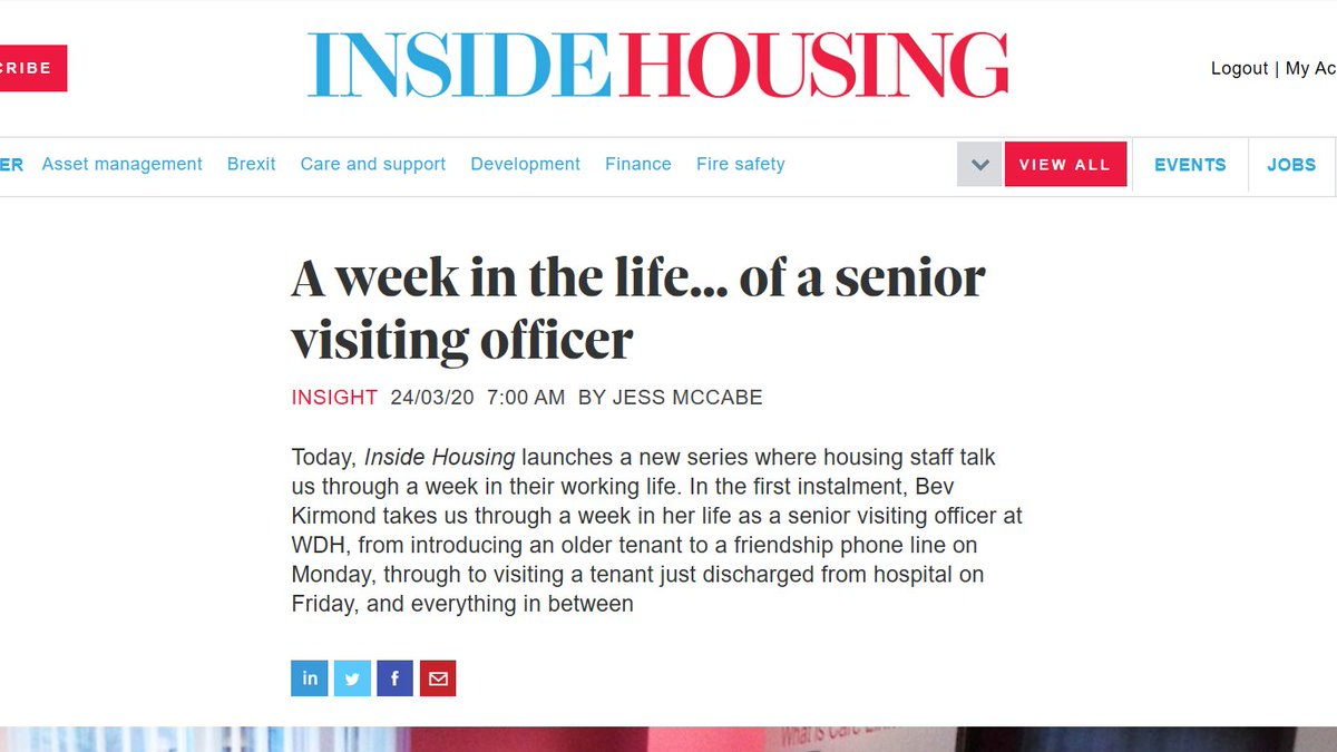 Great article from @insidehousing  - A week in the life of a Senior Visiting Officer. Such a great time to get an insight into how #TEC  workers can help the #vulnerable  and #elderly  be independent in their home, especially throughout this crisis  https://bit.ly/2UF09Ly   @WDHupdate