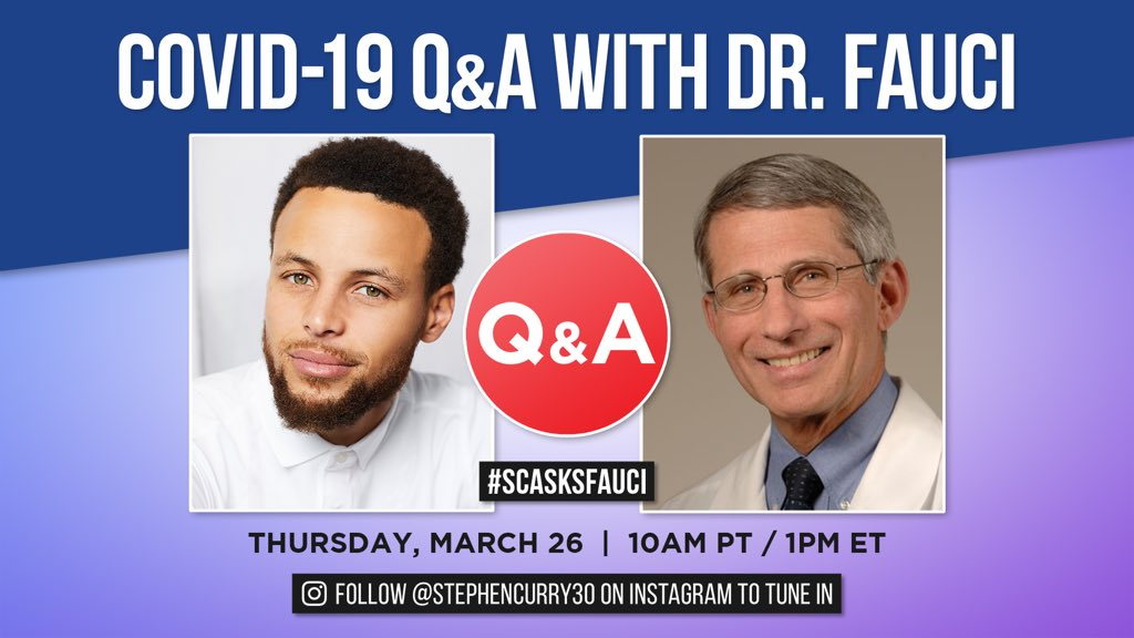 Hyped to talk all things COVID-19 with Dr. Fauci of the @NIAIDNews tomorrow. This is a conversation for YOU so submit questions with #SCASKSFAUCI and join at 10am PT tomorrow (Mar 26). Let's get it! https://t.co/7DC0dty6u6