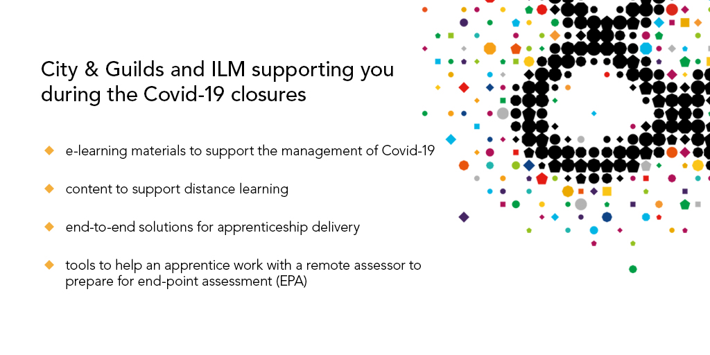 We are committed to supporting you, your staff and your learners in coming to terms with home working. We are making the following digital resources available to our customers: cityandguilds.com/covid-19