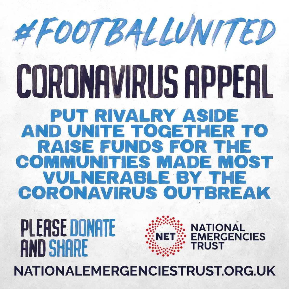 In a time of a crisis its more important than ever for us as society to pull together. One small thing we as football could do was to create a campaign to raise money and awareness for the @NatEmergTrust through our #FootballUnited campaign.