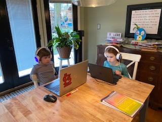 Duckworth girls first day of eLearning...So far, so good!!