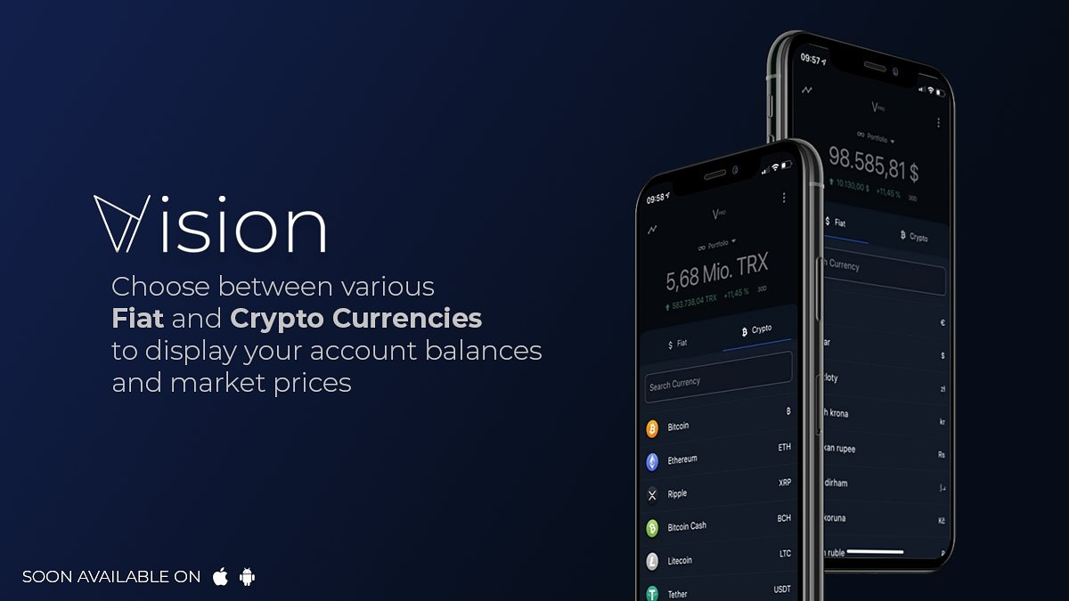 Want to see the value of your portfolio in fiat or in #Crypto?  You can with ease using #Vision  #BTC #TRX #ETH #LTC £$€¥pic.twitter.com/8Y7TRcvlF7