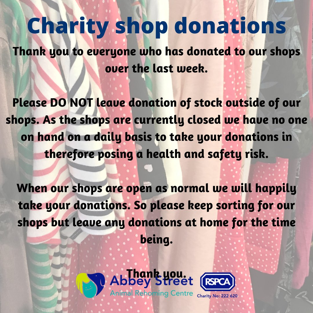 Information regarding donations to our charity shops..... #RSPCADerby