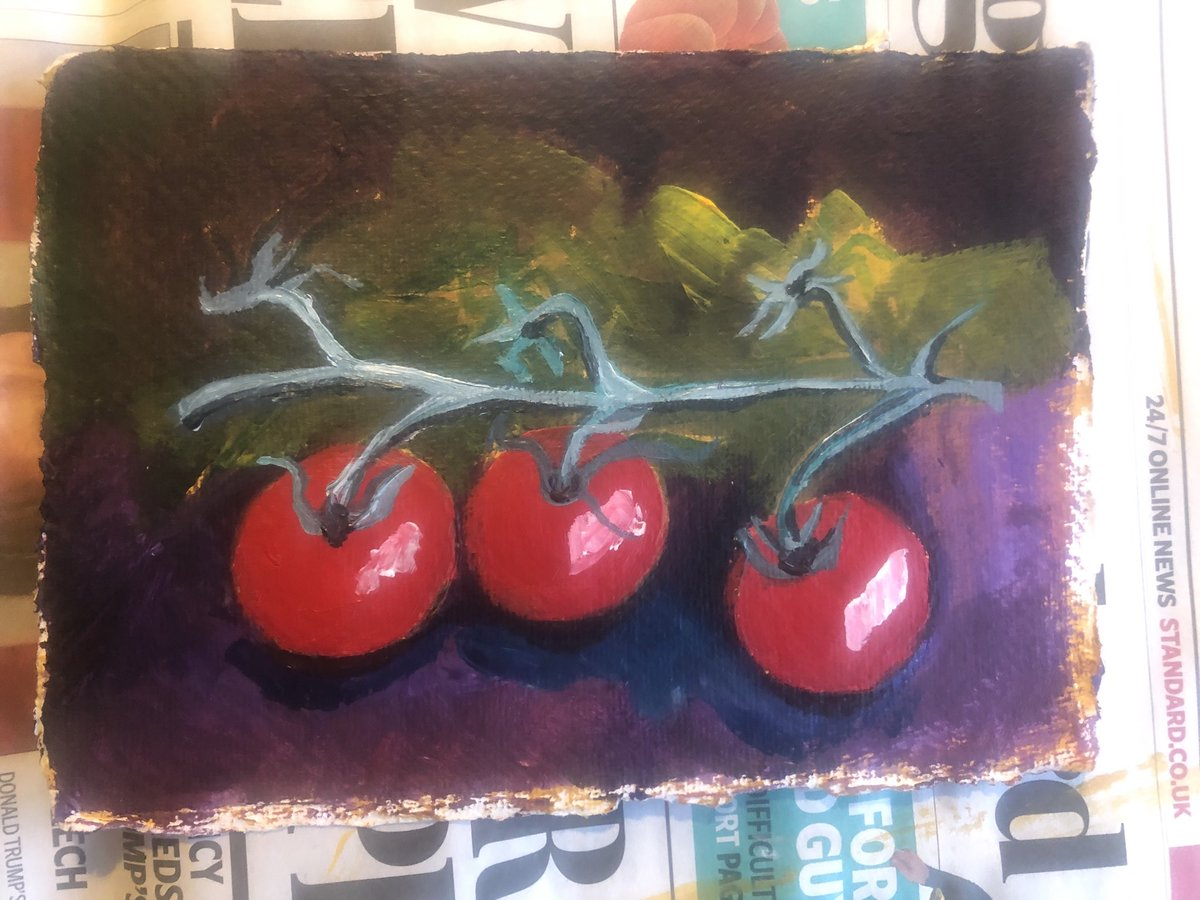 Today's tiny painting tomatoes #hobbiessaveyoursanity