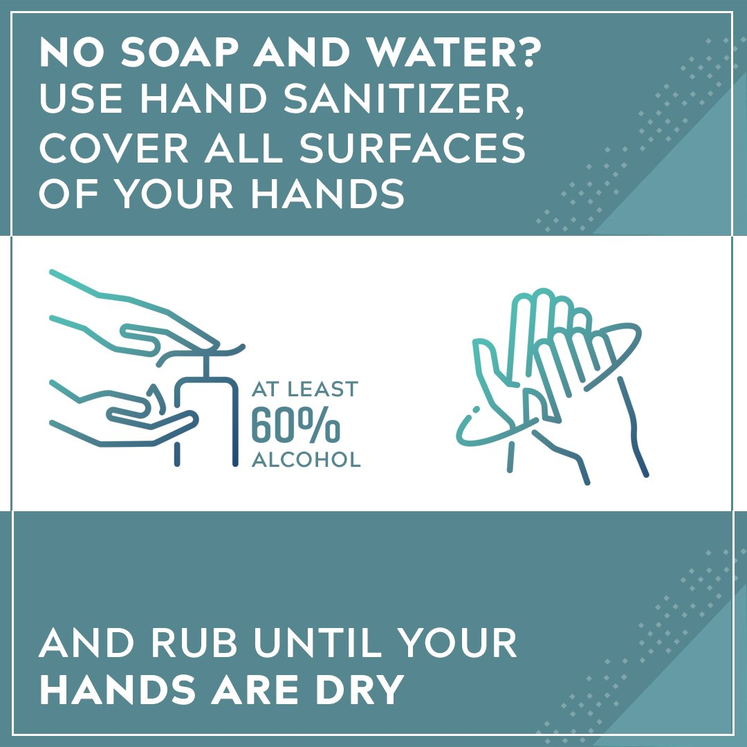 No soap and water? Use hand sanitizer, cover all surfaces of your hands and rub until your hands are dry.