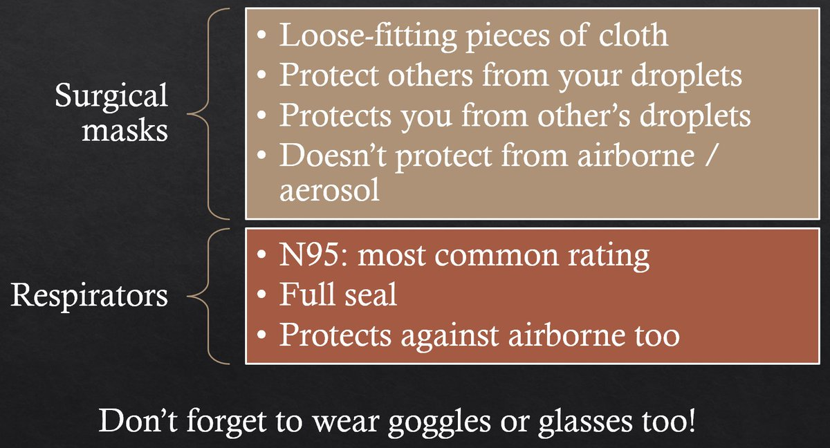 The fancy masks they use in hospitals are called 'Respirators' (the most common rating is 'N95'). You don't need one of those to protect you - they're only needed for certain hospital procedures.You just need a basic mouth & nose cover, and goggles or glasses for your eyes.