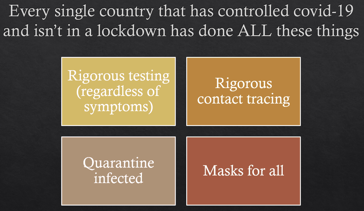 Masks aren't enough on their own. But they are a part of the solution in *every* region that's figuring out how to beat this thing!(Of course, you can't even *begin* to solve this until you've done a lock-down long enough to buy your hospital system time.)