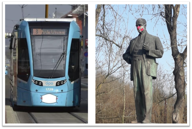 Within days, masks were everywhere! Politicians! Trams! Statues!