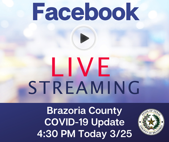 Brazoria County will be conducting a FACEBOOK LIVE this afternoon at 4:30 PM for an important update.