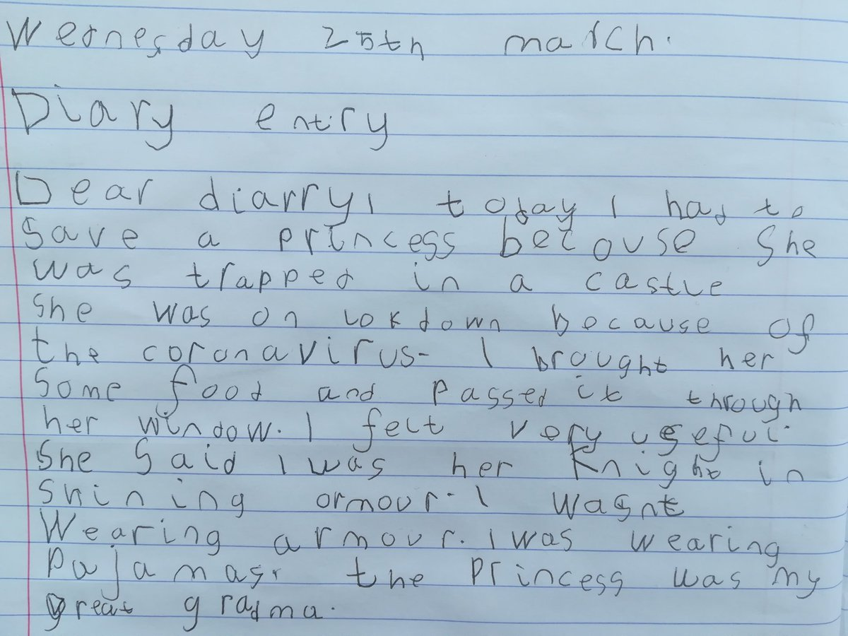Reuben's homework from the school for today was to write a diary entry pretending to be a Knight rescuing a princess from a castle.... #NotAllHeroesWearCapes #6yearoldkeyworker #covid_19 #CoronavirusLockdown #StayHome #CoronavirusLockdownUK #lockdown #childhero pic.twitter.com/QKLUOmFLMD